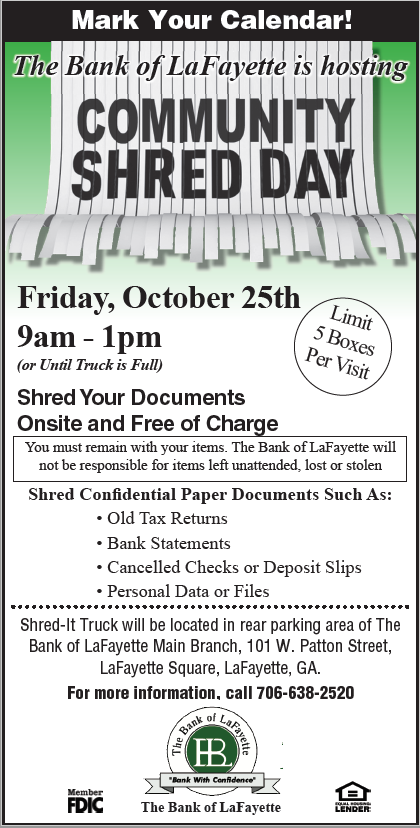 Community Shred Day Flyer for October 25th, 1029