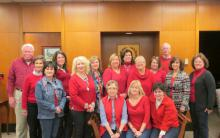 Photo of employees wearing red for National Wear Red Day